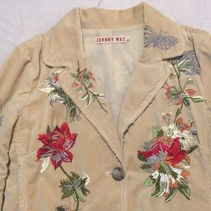 JOHNNY WAS  Velvet embroidered fitted blazer Sz L